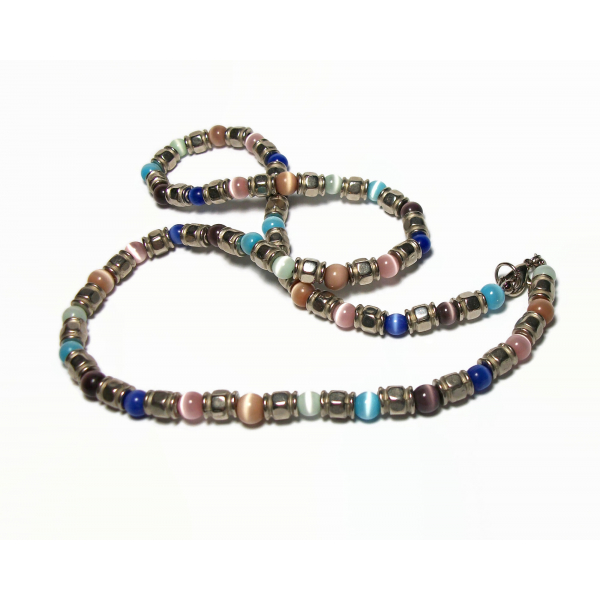 """Vintage Cats Eye Beaded Necklace Silver & Multicolored Catseye Beads 21"""" chain"""