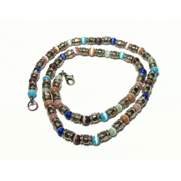 Vintage Cats Eye Beaded Necklace Silver and Multicolored Catseye Beads 21 inch