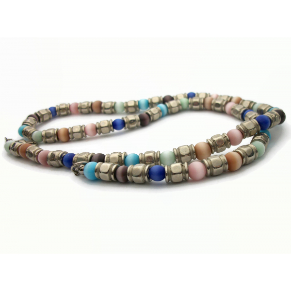 Vintage Cats Eye Beaded Necklace Silver and Multicolored Catseye Beads 21 inch C