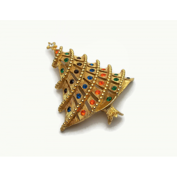 Vintage Brushed Gold Christmas Tree Brooch Pin with Colorful Rhinestones