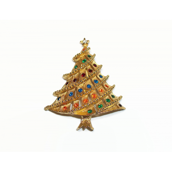 Vintage Textured Gold Christmas Tree Brooch Pin with Colorful Rhinestones