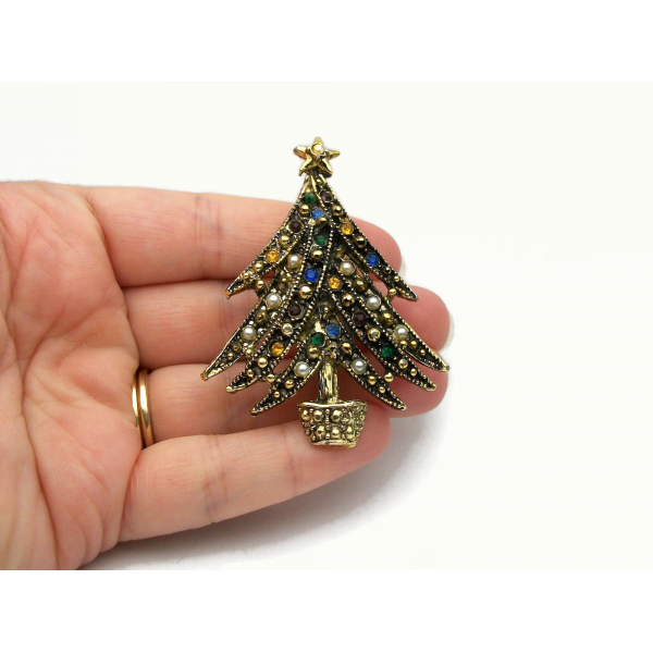 VIntage Ornate Christmas Pin Brooch Gold with Multicolored Rhinestones Pearls