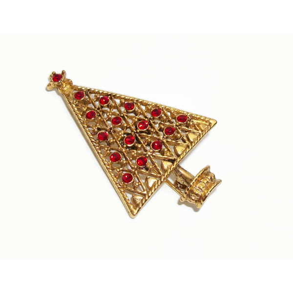 Signed Eisenberg ICE Christmas Tree Brooch Pin Gold Filigree and Red Crystals