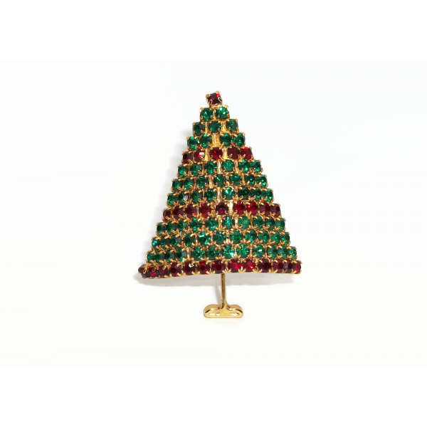 Vintage Emerald Green and Red Pave Crystal Rhinestone Christmas Tree Brooch Pin