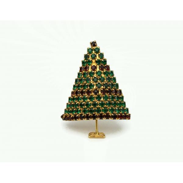 Vintage Emerald Green Garnet Red Pave Crystal Rhinestone Christmas Tree Brooch