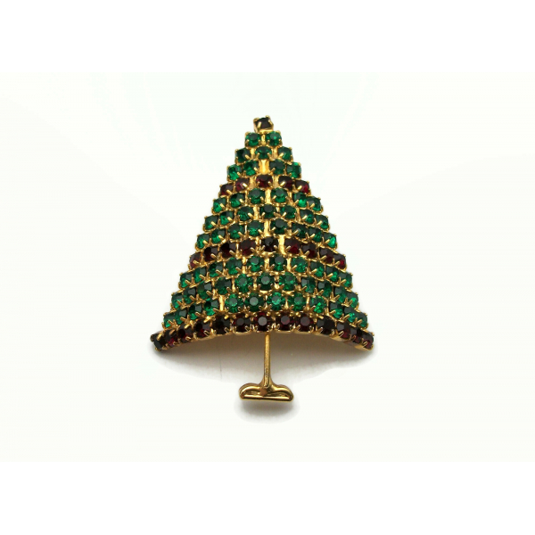 Prong Set Pave Crystal Christmas Tree Brooch Lapel Pin Gold Green Red