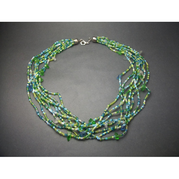 Vintage Blue and Green Glass Bead Multi Strand Choker Necklace Seed Beads