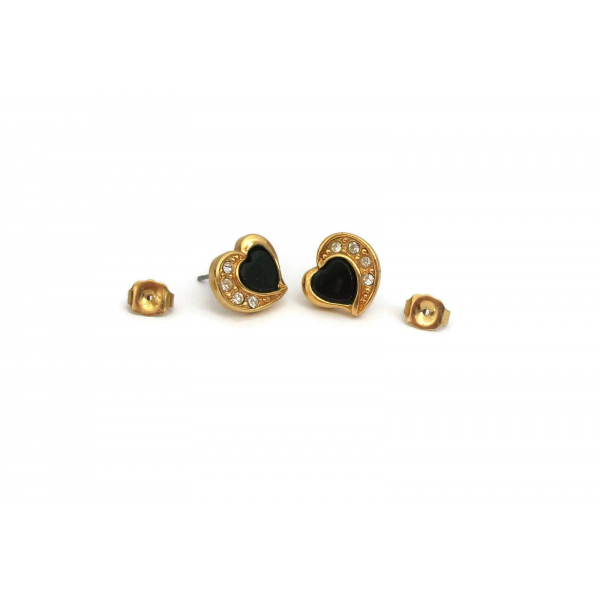 Vintage Avon Small Black Lucite & Gold Heart Earrings with Clear Rhinestones