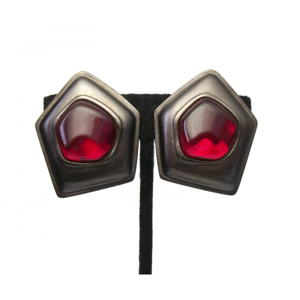 Vintage Signed Yves Saint Laurent Clip on Earrings Big Gunmetal Red Gripoix YSL