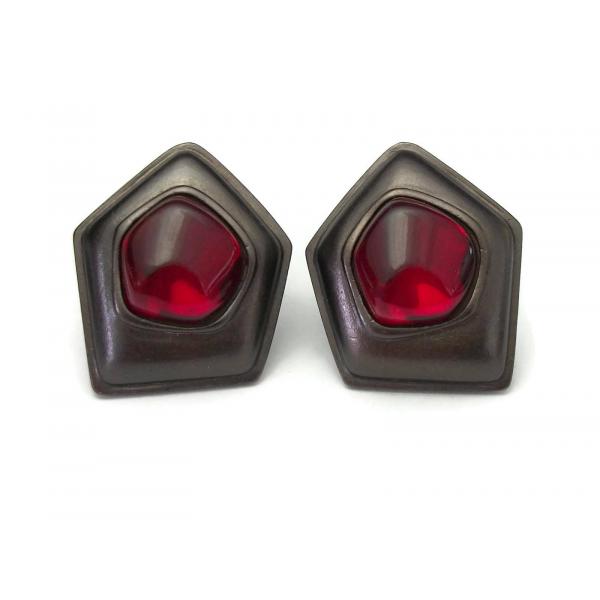 Vintage Signed Yves Saint Laurent YSL Clip on Earrings Big Gunmetal Red Gripoix