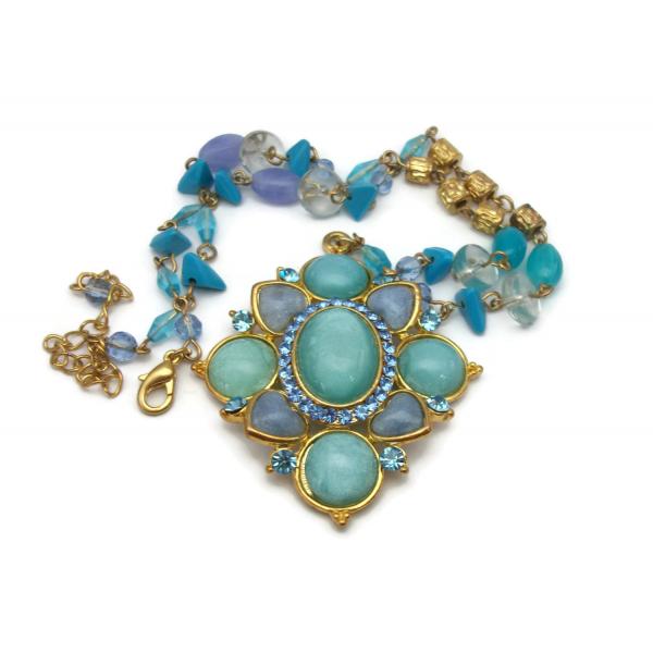 Vintage Blue Moonglow Medallion Pendant Necklace Gold Aqua Turquoise Periwinkle