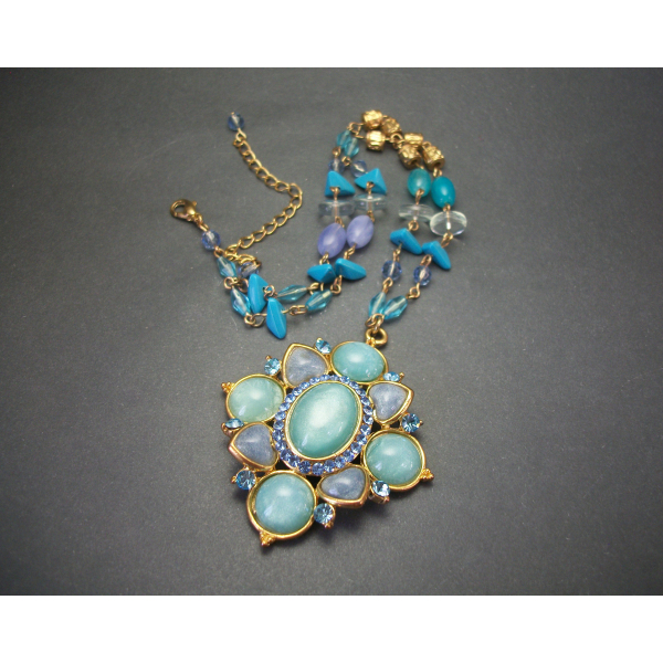 Vintage Shades of Blue Moonglow Big Statement Pendant Necklace