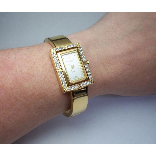 Joan Rivers Gold Tone Pave Crystal Quartz Watch & Reversible Bangle Bracelet