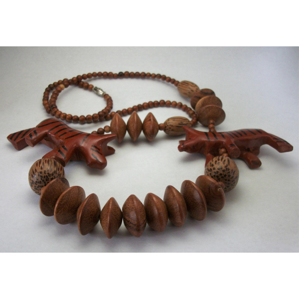 Vintage Chunky Wood Beaded Necklace Tribal Chunky Animal Beads Tiger Boho
