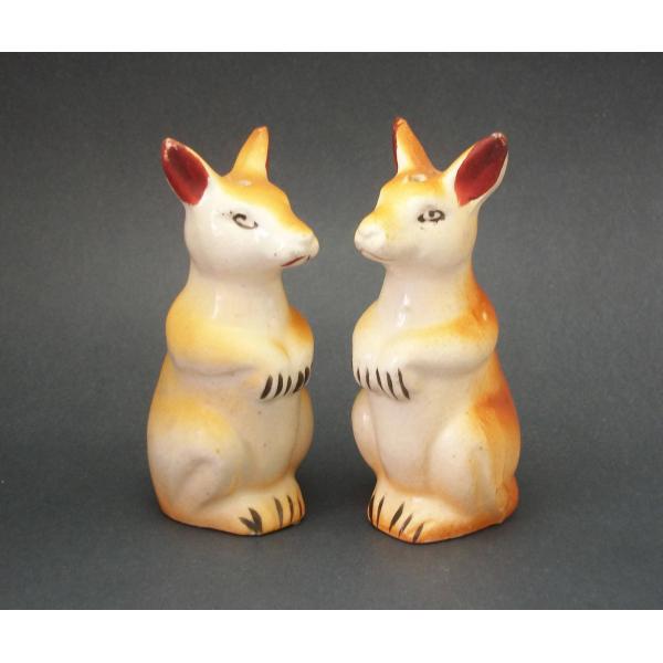 Vintage 50s Ceramic Kangaroo Salt and Pepper Shakers Made in Japan Kitchen Decor