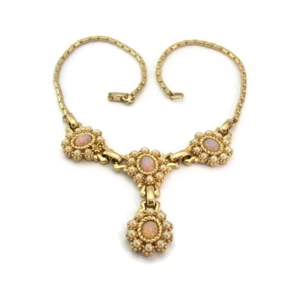 Vintage Harlequin Glass Fire Opal Parure Pink Opal Necklace Bracelet Earrings