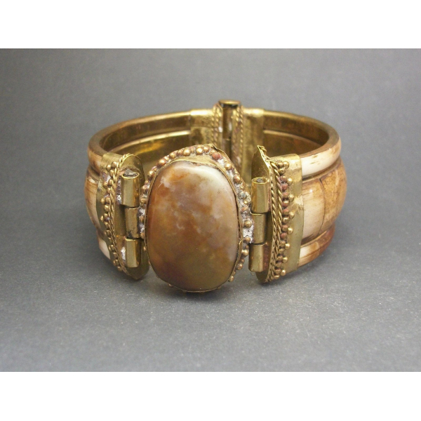 Chunky boho brass and bone inlay bangle unisex for men or women