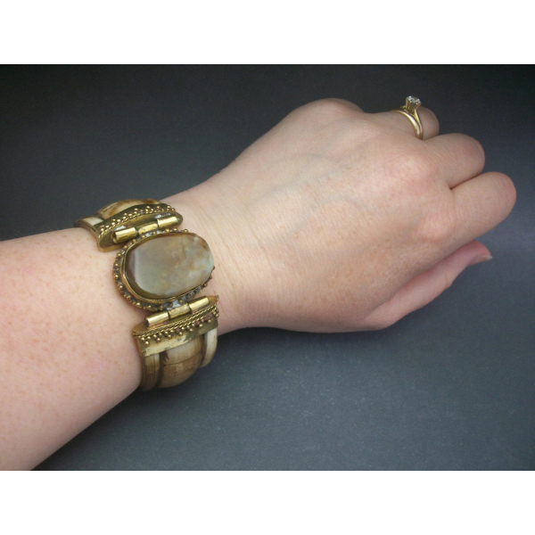 Unisex chunky brass and bovine bone inlay hinged bracelet