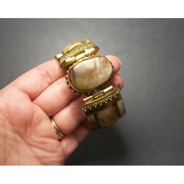 Women's men's unisex brass and bovine bone hinged bracelet