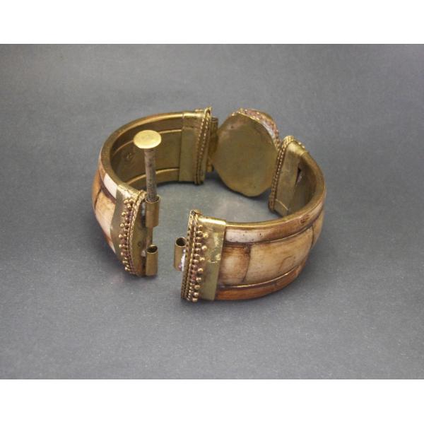 Hinged bracelet brass and bovine bone unisex men women