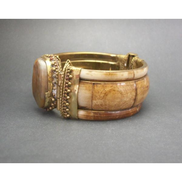 Bohemian brass and bovine bone hinged bangle men's women's