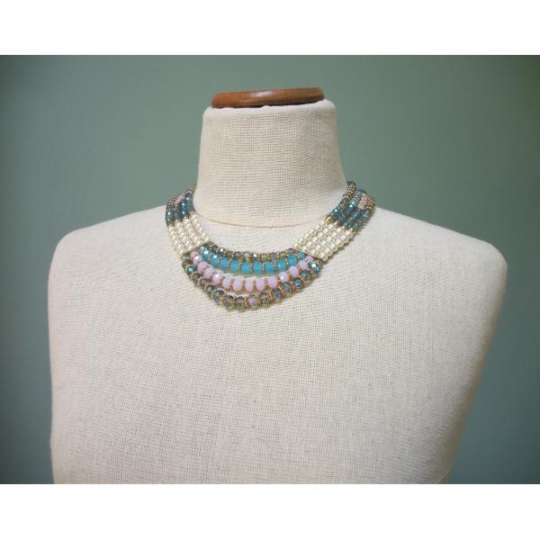Vintage pearl beaded necklace and bracelet set