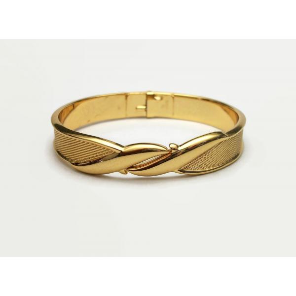 Vintage Monet Clamper Bracelet Gold Tone Metal Hinged Bangle