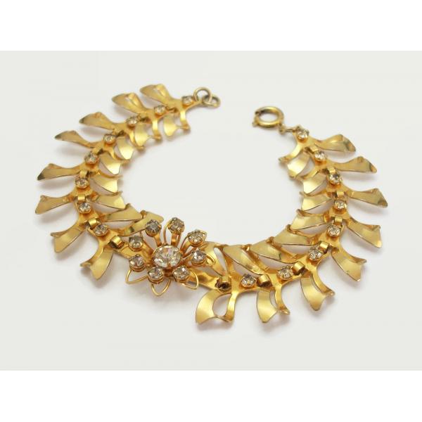 Ornate Vintage Gold Bracelet with Clear Crystals