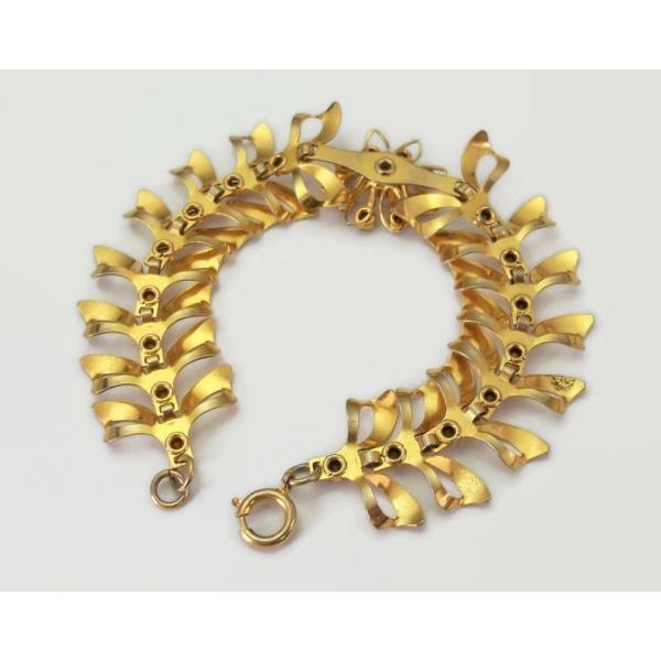 Vintage Ornate Gold Bracelet with Clear Crystals