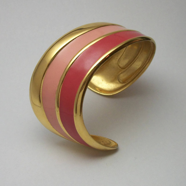 Vintage Napier asymmetrical cuff bracelet rose pink and salmon enamel
