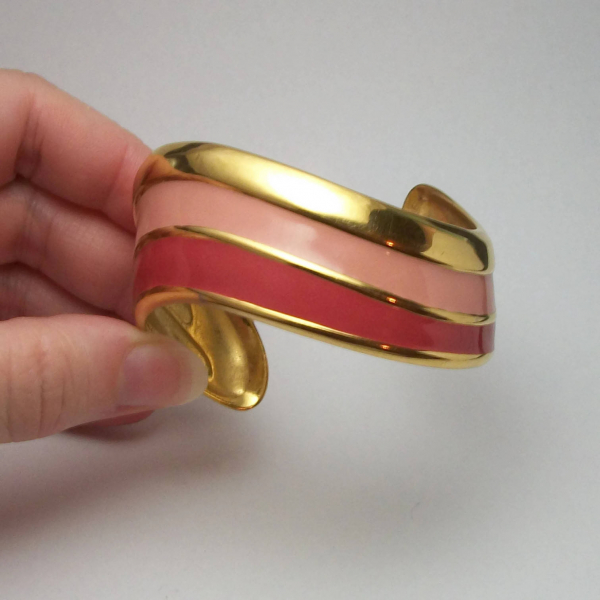 Napier enamel cuff bracelet pink and gold