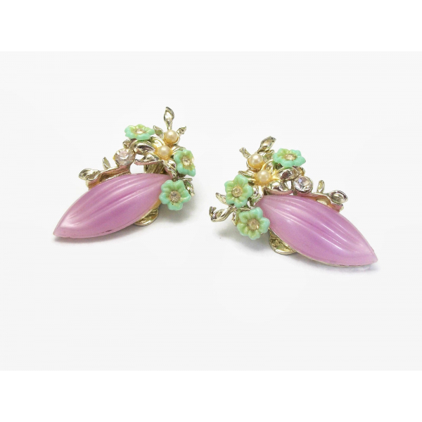Vintage 1950s Lavender Purple and Mint Green Celluloid Floral Clip on Earrings