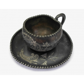Antique Quadruple Silver Plate Teacup and Saucer James W Tufts Vintage Tea Cup