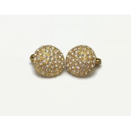 Monet Rhinestone Round Clip on Earrings Wedding Bride
