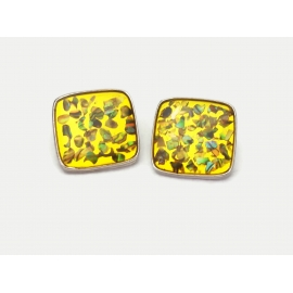 Vintage yellow lucite abalone confetti clip on earrings