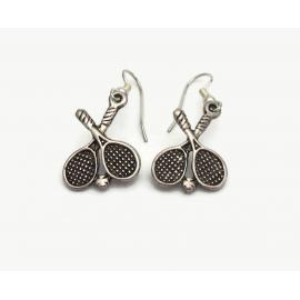 Vintage Tennis Racket Racquet Dangle Earrings Silver Tennis Player Jewelry