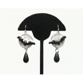 Halloween Bat Dangle Earrings Black and Sparkly Silver Enamel Flying Bat & Moon