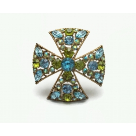 Vintage Unsigned Florenza Crystal Maltese Cross Brooch Blue Green