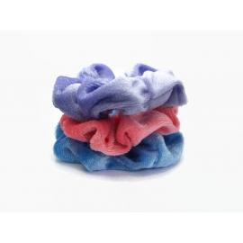 Velvet Hair Scrunchie Set of Three Scrunchies Pink Blue Purple Scrunchy Pack
