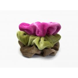 Clone of Velvet Hair Scrunchie Set of Three Fuchsia Pink Moss Green Toffee Brown