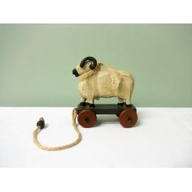 Rustic Wood Sheep Ram Pull Toy Decorative Figurine Home Decor