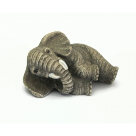 Vintage Elephant Figurine by Chinese Artist Jaimy Relaxing Elephant Lying Down