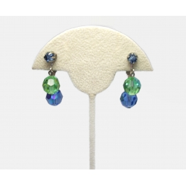 Vintage Blue and Green Crystal Dangle Clip on Earrings Formal Drop Earrings