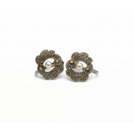 Dainty Marcasite Screw Back Clip on Earrings with Tiny Pearl Accent
