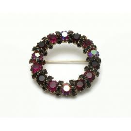 Vintage Circle Pin Brooch Garnet Red Purple AB Crystals Rhinestones