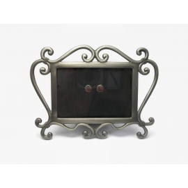 Vintage 3x2 Tabletop Easel Back Picture Frame Pewter with Glass Front
