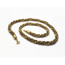 Vintage Avon Gold Mesh Bead Twist Necklace 1980s 1983 17 1/4 inch Gold Chain