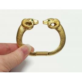 Kenneth Jay Lane KJL for Avon Gold Ram Heads Bracelet Clamper Cuff Hinged Bangle