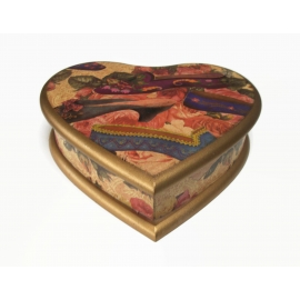 Heart Shaped Wood Box with Floral Victorian Slipper Shoe Motif Trinket Box