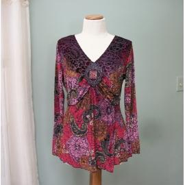 Vintage Carole Little Women's Shirt Blouse size M Purple Red Stretchy